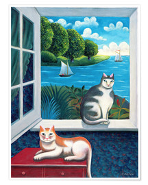 Poster Premium  Cats and Sea - Jerzy Marek
