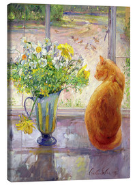 Stampa su tela  Gatto con fiori alla finestra - Timothy Easton