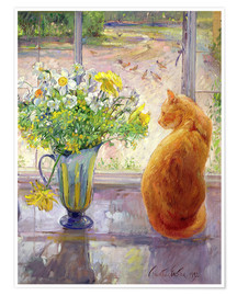 Poster Premium  Cat with Flowers in the window - Timothy Easton