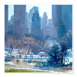 Poster Premium  Winter in Central Park, New York, 1997 - Julian Barrow