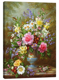 Stampa su tela  Bluebells, daffodils, primroses and peonies - Albert Williams