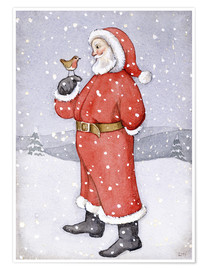 Poster Premium  Father Christmas and a Robin - Lavinia Hamer