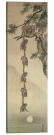 Stampa su tela  Monkeys reaching for the Moon - Japanese School