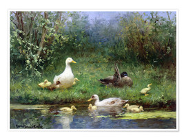 David Adolph Constant Artz - Ducks on a riverbank