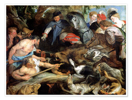Poster  Hunting a Wild Boar - Peter Paul Rubens
