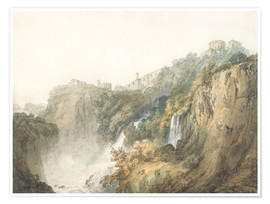 Poster Premium  Tivoli with the Temple of the Sibyl and the Cascades - Joseph Mallord William Turner