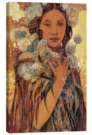 Stampa su tela  Native American Woman with Flowers and Feathers - Alfons Mucha