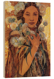 Legno  Native American Woman with Flowers and Feathers - Alfons Mucha