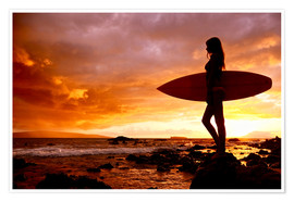 Poster Premium Silhouette of a surfer