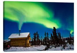 Stampa su tela  Northern Lights over a hut - Kevin Smith