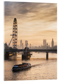 Stampa su vetro acrilico  Millenium Wheel with Big Ben, London, England - Charles Bowman