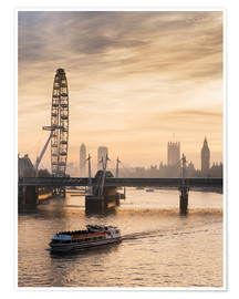 Poster Premium  Millenium Wheel with Big Ben, London, England - Charles Bowman