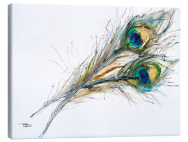 Stampa su tela  Watercolor of two peacock feathers - Tara Thelen