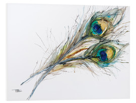 Stampa su schiuma dura  Watercolor of two peacock feathers - Tara Thelen