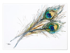 Poster  Watercolor of two peacock feathers - Tara Thelen