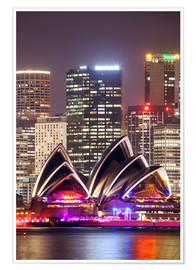 Poster Premium Sydney Opera house at night