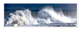 Poster Premium  Waves crashing on lighthouse - John Short