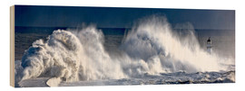 Stampa su legno  Waves crashing on lighthouse - John Short