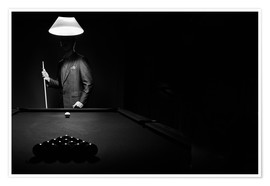 Poster Mystery Pool Player Behind Rack Of Billiard Balls