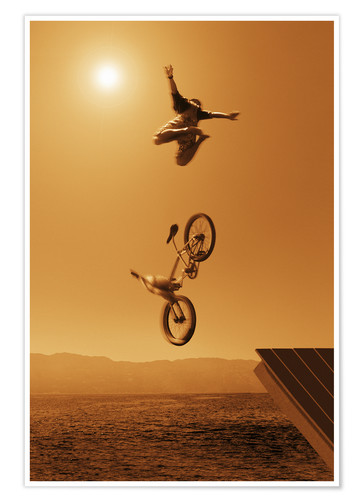 Poster Premium Cyclist Going Off Jump Into Water In Brown Tones