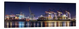 Stampa su alluminio  Hamburg harbor panorama at night - Daniel Heine