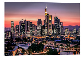 Stampa su vetro acrilico  Skyline Frankfurt am Main Sundown - Frankfurt am Main Sehenswert