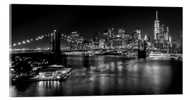Stampa su vetro acrilico  New York City by Night (monochrome) - Sascha Kilmer