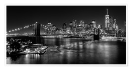 Poster  New York City by Night (monochrome) - Sascha Kilmer