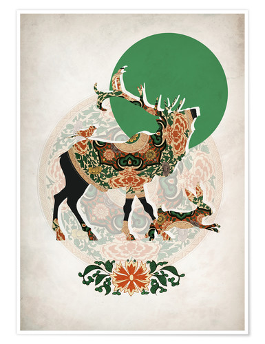 Poster stag, bird and hare