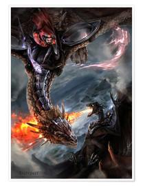 Poster Premium Dragon Battle