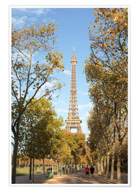 Poster Premium Eiffel tower in autumn, Paris, France