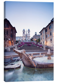 Tela  Famous Spanish Steps and Bernini fountain, Rome, Italy - Matteo Colombo