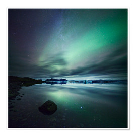Poster Premium Northern Lights over Jokulsarlon