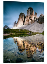 Stampa su vetro acrilico  Majestic Three Peaks (Tre Cime di Lavaredo) mountains in the Dolomites, Italy - Matteo Colombo