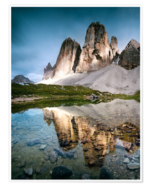 Poster Premium  Majestic Three Peaks (Tre Cime di Lavaredo) mountains in the Dolomites, Italy - Matteo Colombo