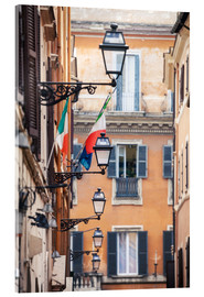 Stampa su vetro acrilico  Street in the centre of old town with italian flags, Rome, Italy - Matteo Colombo