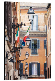Stampa su alluminio  Street in the centre of old town with italian flags, Rome, Italy - Matteo Colombo