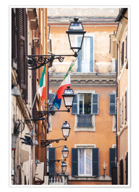 Poster Premium  Street in the centre of old town with italian flags, Rome, Italy - Matteo Colombo