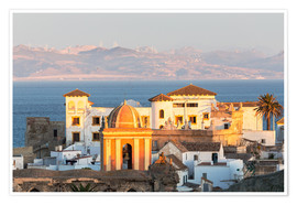 Poster Premium  Strait of Gibraltar and town of Tarifa at sunset, Andalusia, Spain - Matteo Colombo
