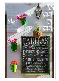 Poster Premium  Typical whitewashed ornate wall and paella sign, Andalusia Spain - Matteo Colombo