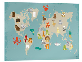 Stampa su vetro acrilico  The animal world map for the nursery - Petit Griffin