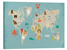 Stampa su alluminio  The animal world map for the nursery - Petit Griffin