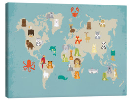 Stampa su tela  The animal world map for the nursery - Petit Griffin