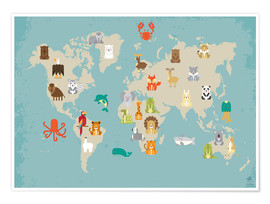 Poster  The animal world map for the nursery - Petit Griffin