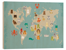 Stampa su legno  The animal world map for the nursery - Petit Griffin