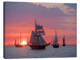 Stampa su tela  Sailing ships on the Baltic Sea in the evening - Rico Ködder