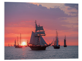 Stampa su PVC  Sailing ships on the Baltic Sea in the evening - Rico Ködder