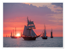 Poster Premium  Sailing ships on the Baltic Sea in the evening - Rico Ködder