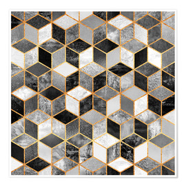Poster  Black and white cubes - Elisabeth Fredriksson