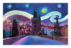 Poster  Starry Night in Prague   Van Gogh Inspirations on Charles Bridge in Czech Republic - M. Bleichner